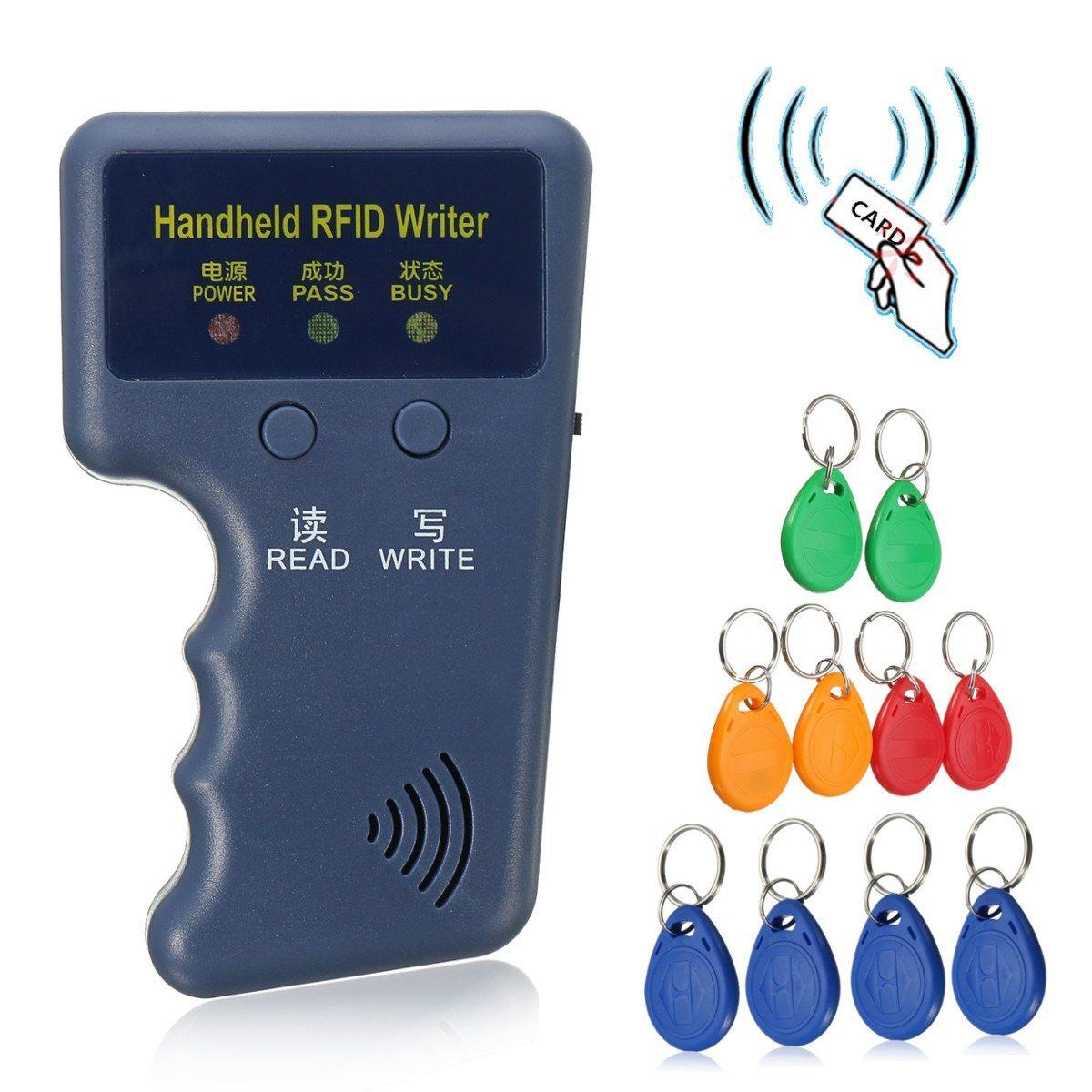 Handheld 125 Khz em4100 RFID Fotocopiadoras escritor duplicador programador lector + 10 unids em4305 t5577 rewritable ID keyfobs etiquetas tarjeta