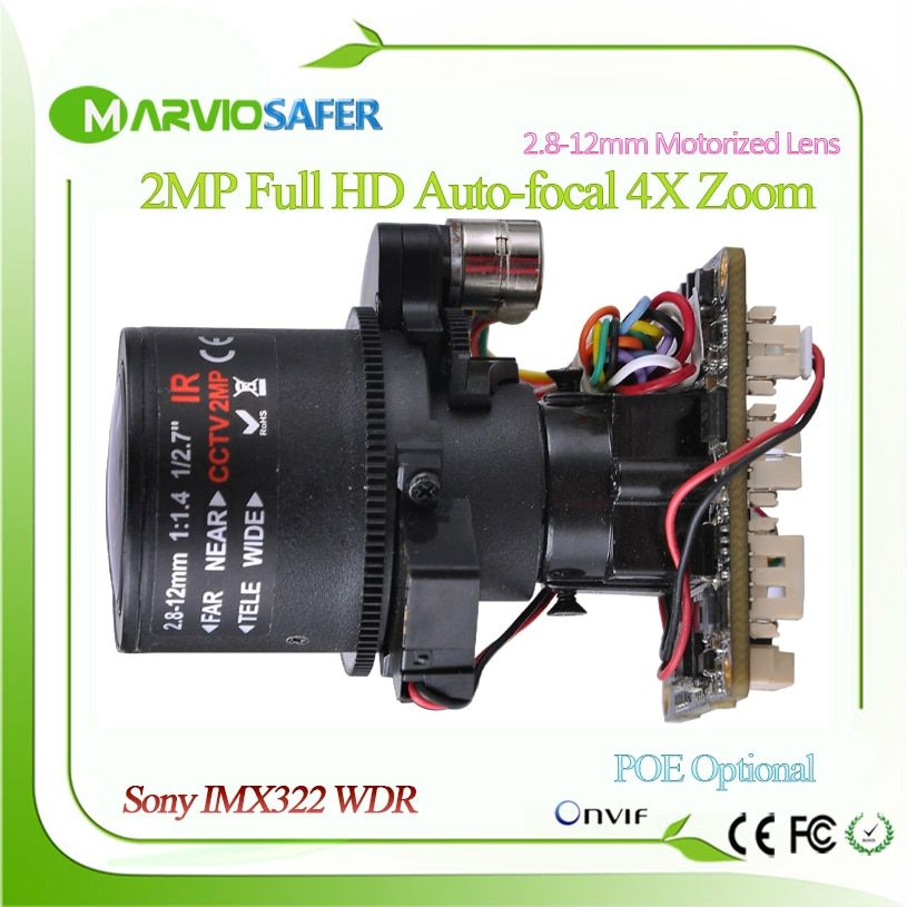 Full HD 1080P IP camera CCTV modules PTZ 2.8 - 12mm optical Zoom lens with RS485 extended wi fi and audio Sony IMX322 Sensor