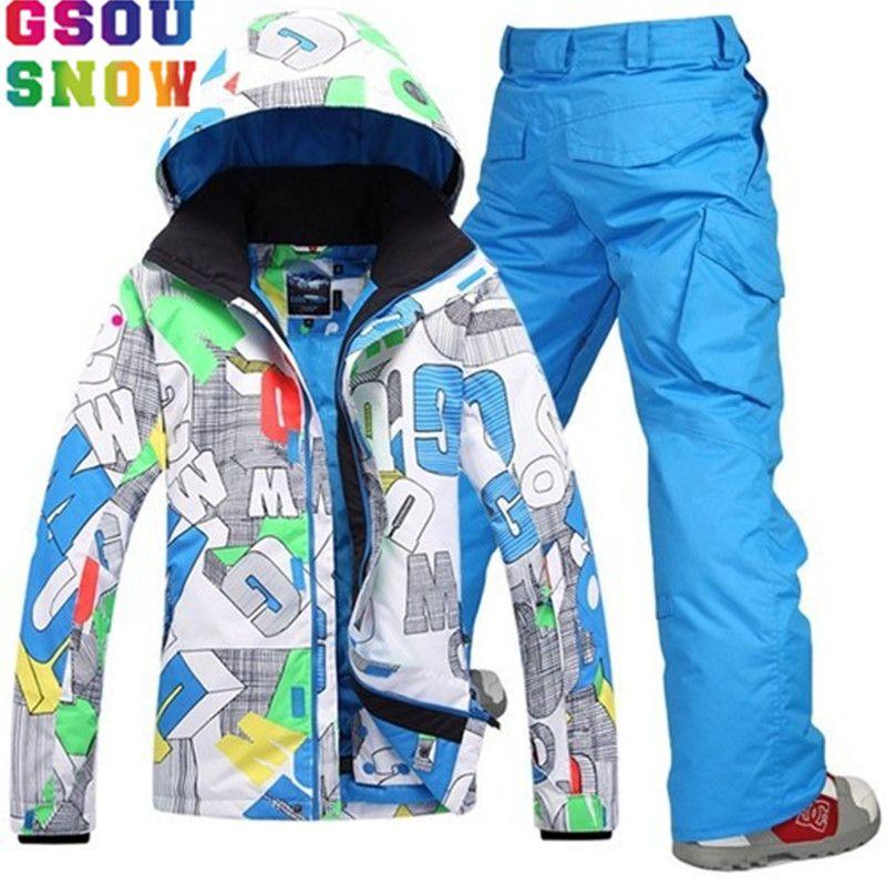 GSOU SNOW Brand Ski Suit Men Ski Jacket Snowboard Pants Winter Skiing Snowboarding Coat Male Windproof Outdoor Sport Clothing