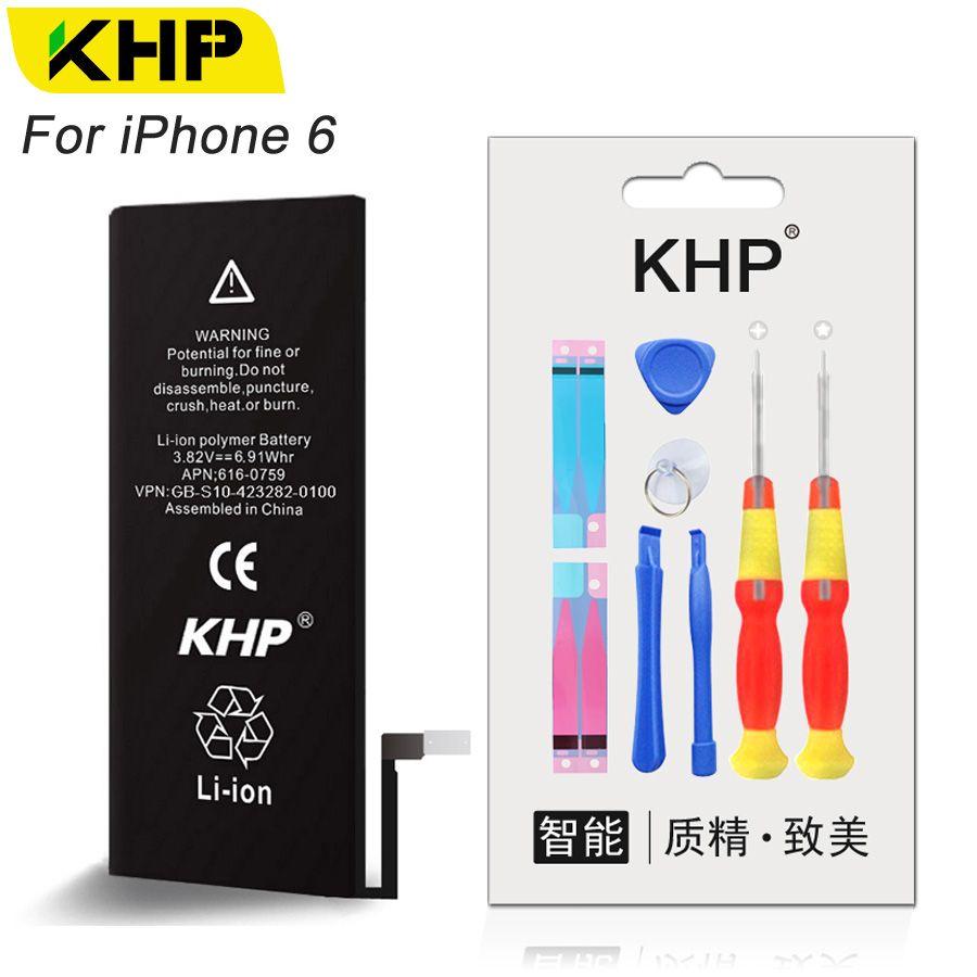 KHP 2017 Nouvelle Batterie De Téléphone de Remplacement D'origine Pour iPhone 6 6G iPhone6 Réel Capacité 1810 mAh 0 Cycle Outil Kit Autocollant Batteries