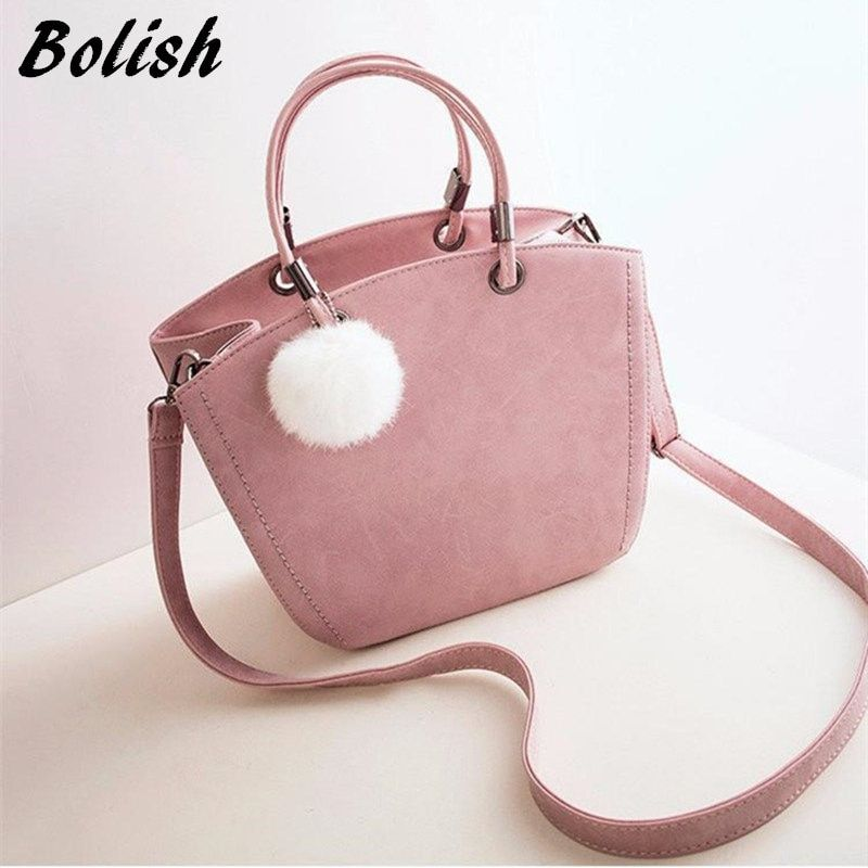 Bolish Women Sweety PU Handbag Female All-Purpose Hairball Shoulder Bag Lady Causal Daily Messager Bag Fashion Crossbody Bag