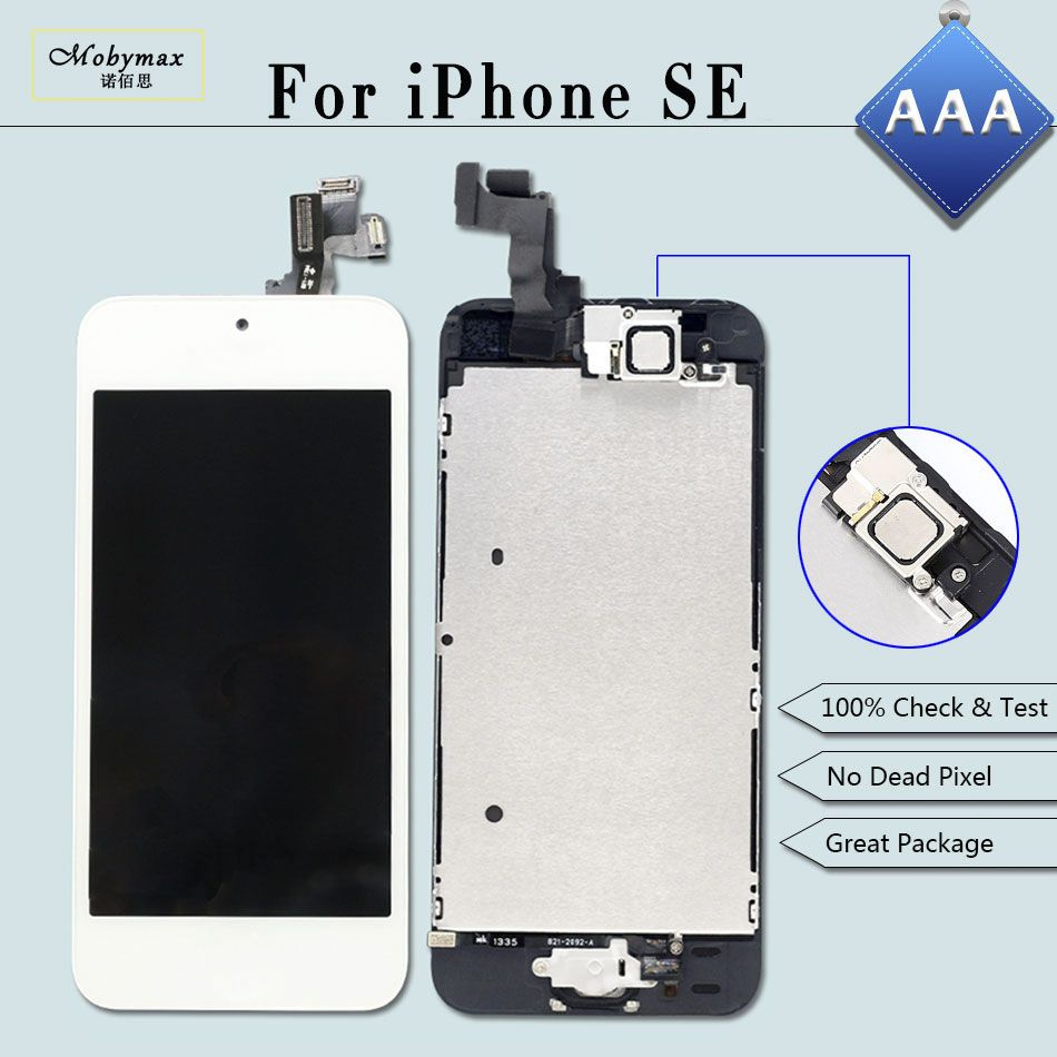 Full Assembly Replacement for iPhone SE A1723 A1662 LCD Screen Module Touch Digitizer Display+Home Button+Front Camera+Film