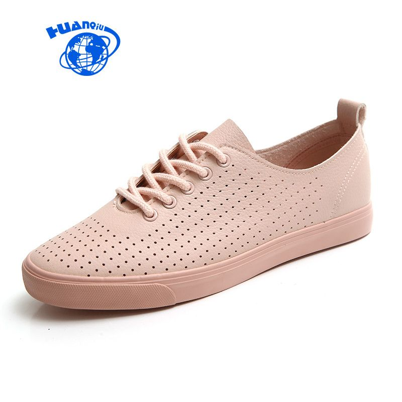 Huanqiu женская обувь на лето 2017 весенние дышащие отверстия одноцветное Цвет женские белые туфли кожа Chaussure Femme плоская подошва