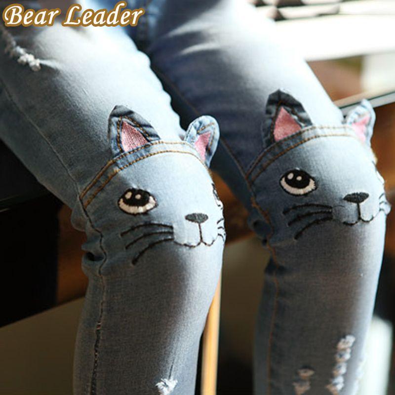 Bear Leader Girls Jeans 2017 Spring Cartoon Cat On Knee Trousers Children's Pencil Leggings Light Blue Pantalon Fillette 2-6Y