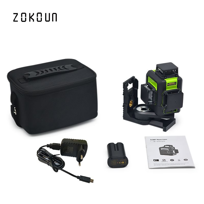 Zokoun 3 x 360 3D green beam high performance qualified tilt functional lines level laser with lithium battery and bracket