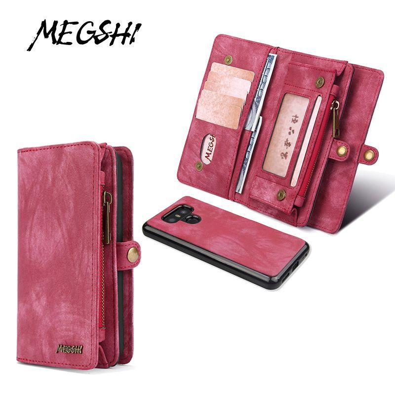 Étui détachable en cuir MEGSHI pour étui LG G6 sac à fermeture à glissière en cuir 2 en 1 pour étui LG G7 étui portefeuille pour carte de crédit