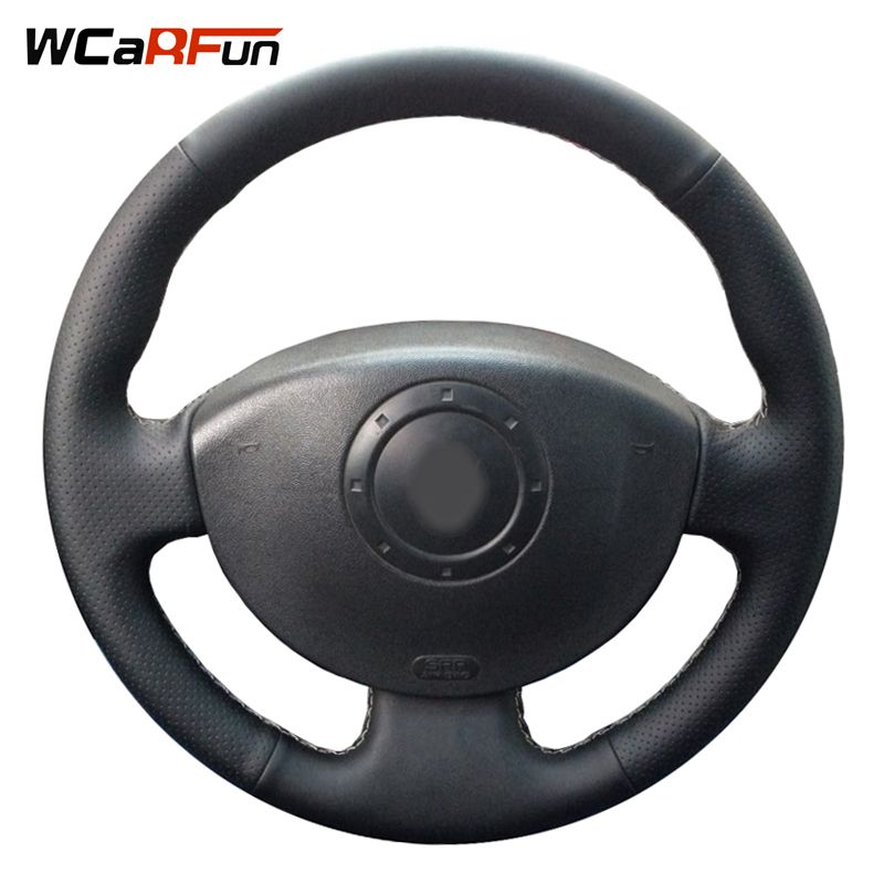 WCaRFun Hand-Stitched Black Leather Car Steering Wheel Cover for <font><b>Renault</b></font> Megane 2 2003-2008 Kangoo 2008 Scenic 2 2003-2009