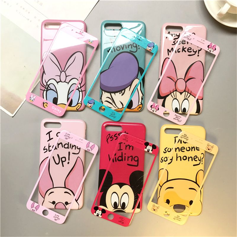 360 Full Cover Phone Case + Glass for IPhone X XR XS Max 8 7 6 6S Plus Iphone7 7Plus Coque Women Cartoon Case Cover Accessories