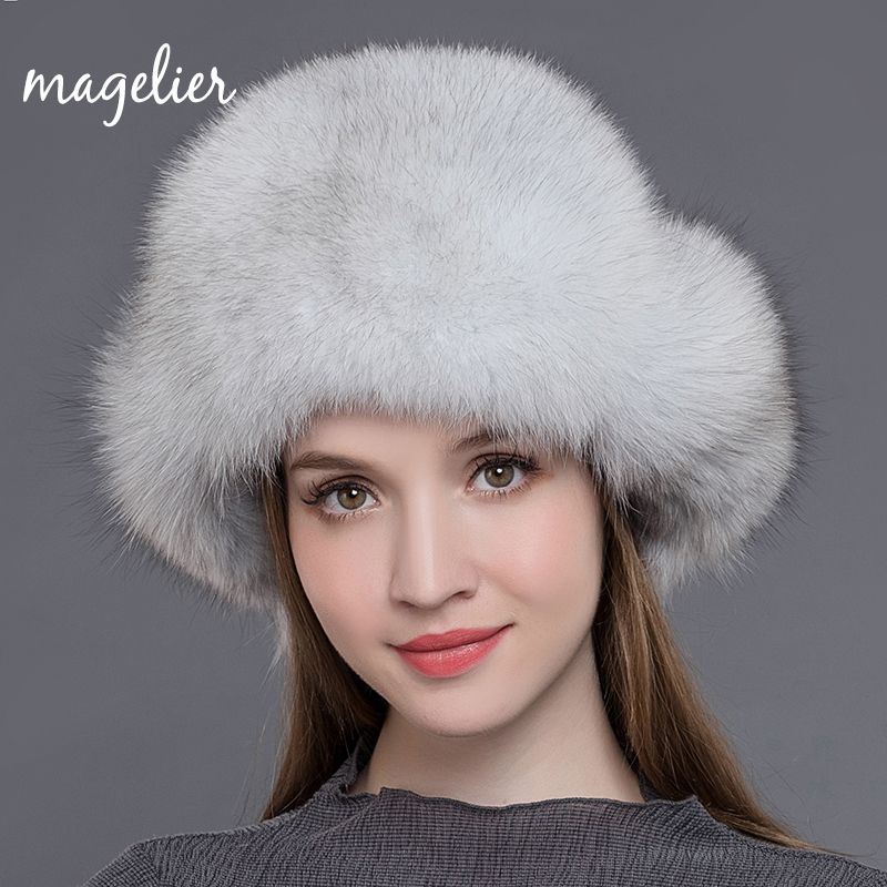 Magelier Women's Fur Hats Natural Raccoon and Fox Fur Russian Ushanka Winter Warm Ears Fashion Bomber Caps New Arrival MZW009