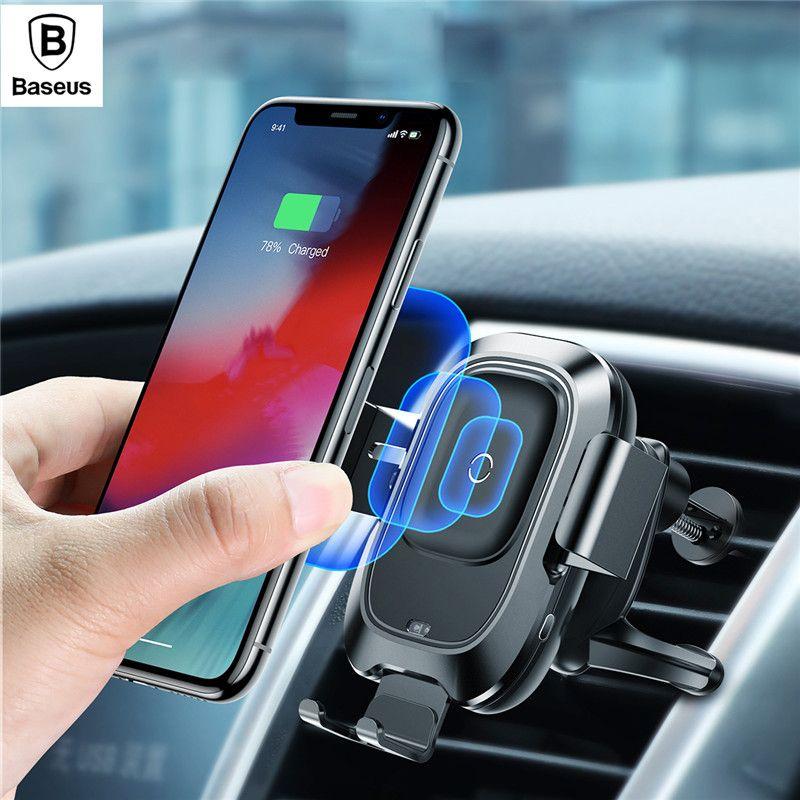Baseus Intelligente Sensor Auto Telefon Halter für iPhone XS Max Schnelle QI Wireless Charger Air Vent Halterung Handy Halter stehen