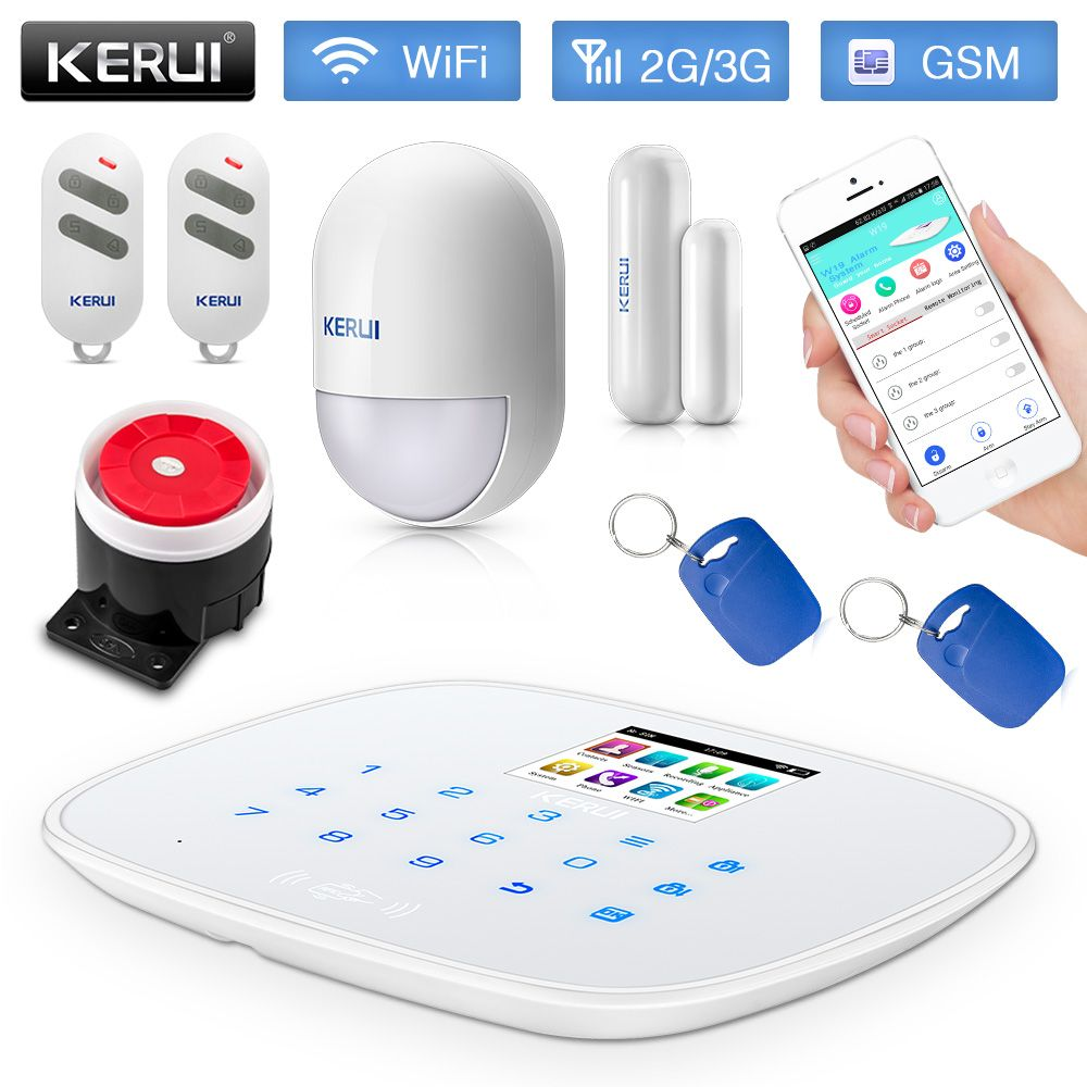 KERUI W193 GSM WADMA 3G PSTN WiFi Wireless House Home Security Alarm Burglar Alarm System Android ios APP Control Touch Panel