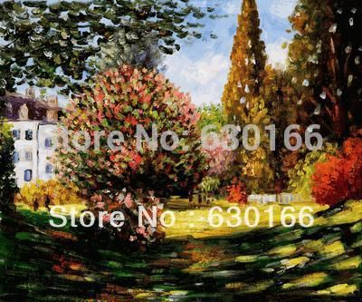 Living Room Home Decoration Painting, Il Parco Monceau by Claude Monet, Canvas Wall Art Painting, Landscapes, Horizontal