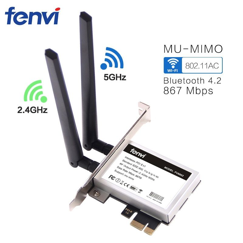 Fenvi Desktop PCi-e 1200Mbps WiFi MU-MIMO Wireless-AC 8265 802.11AC PCI Express Antenna Adapter for Intel 8265ac + Bluetooth 4.2
