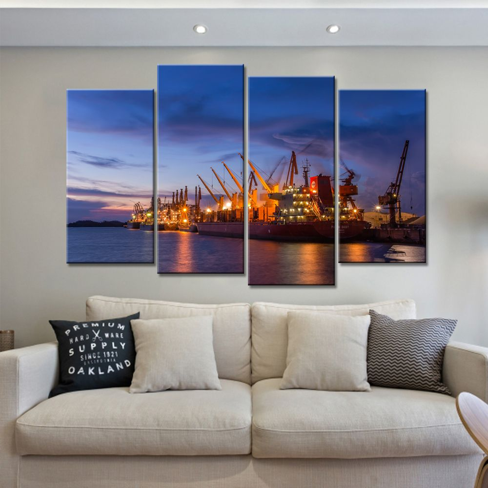 Wholesale Dropshipping Wheel Canvas Painting Wall Art for Living Room 4 Pieces Posters and Prints Modern Nordic No Framed