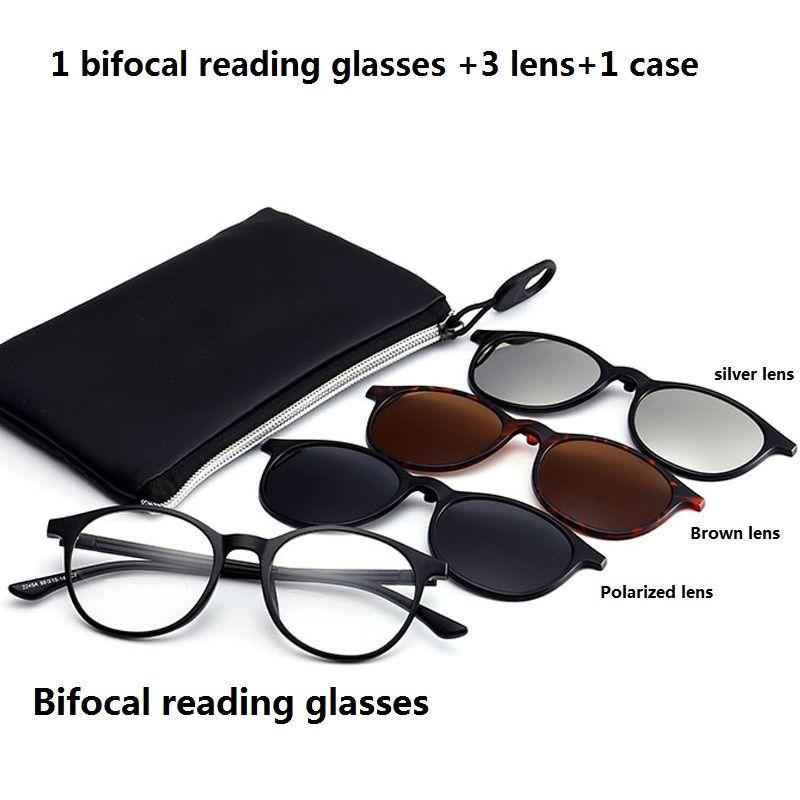 Vazrobe Clip magnétique sur lunettes de soleil bifocales de lecture hommes femmes 3 lentilles dioptrie mâle presbytie femelle grade points rond TR90 UV
