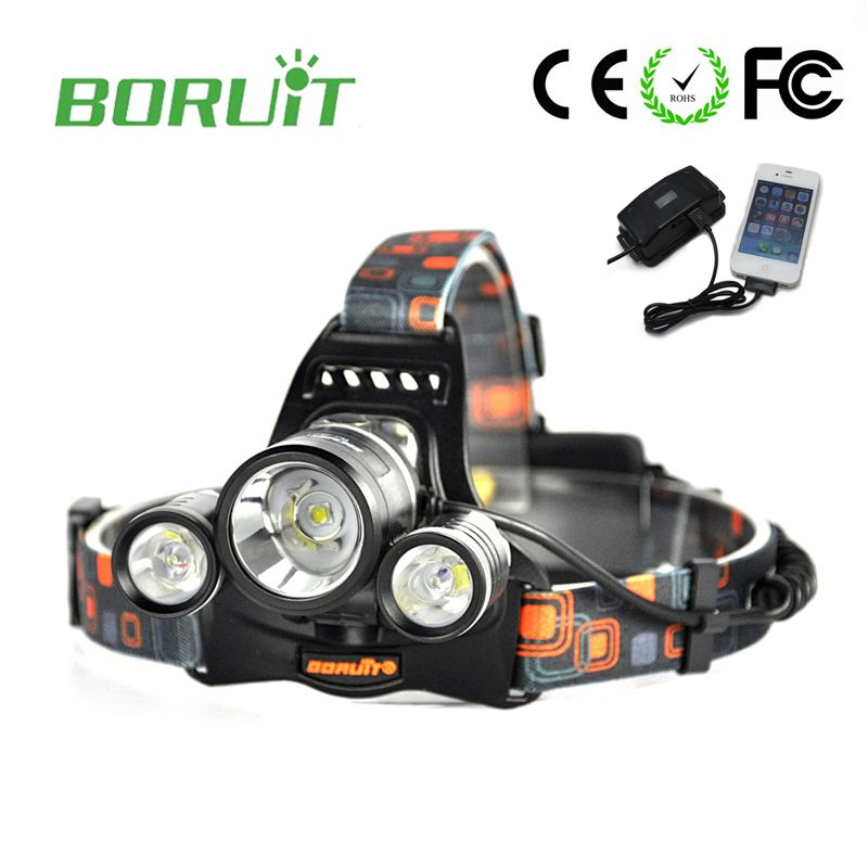 Boruit RJ-5001 Led headlamp Headlight 6000 lumens Linterna frontal 3 XM-L2 Hiking Flashlight head Torch light lamp with charger