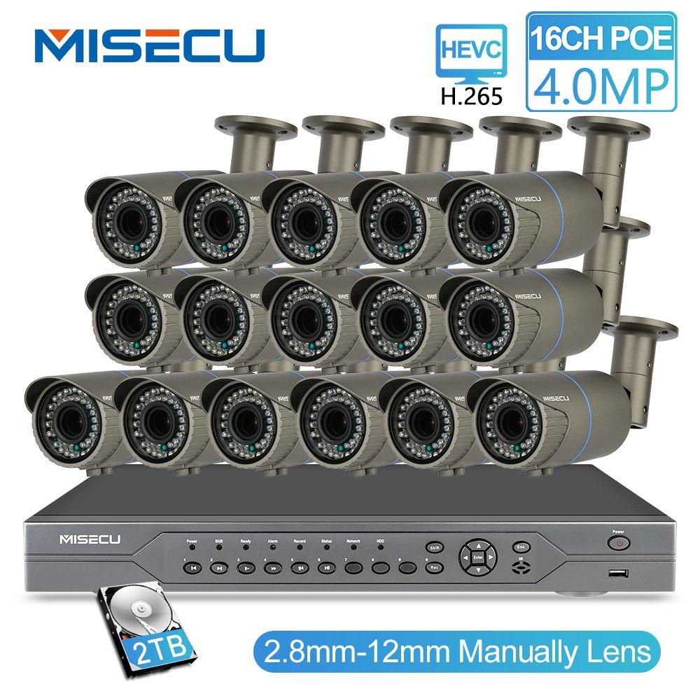 MISECU H.265 16CH POE 48V NVR Kit mit 16 PCS 4MP POE Kamera 2,8-12mm Vario Objektiv CCTV System Cloud Unterstützt PC & Mobille Ansicht