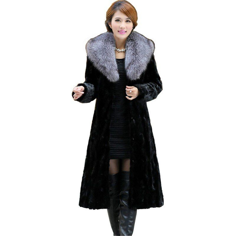 Luxury Genuine Sliced Mink Fur Coat Jacket Fox Fur Collar Winter Genuine Women Fur X-Long Outerwear Plus Size 3XL 4XL 5XL LF4322
