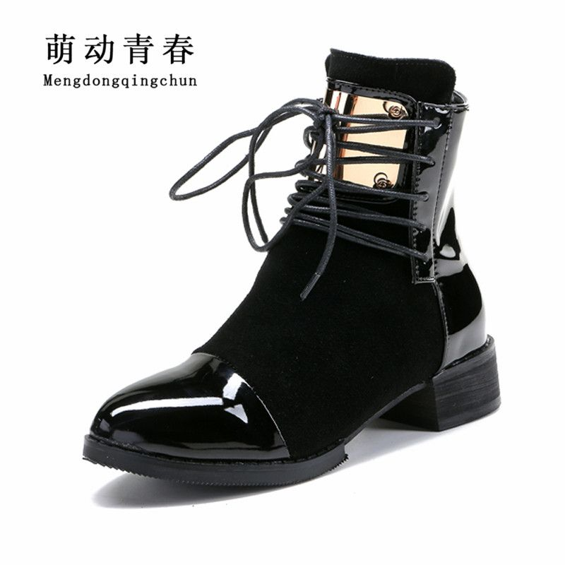 35-43 Women Boots Genuine Leather Flat Martin Ankle Boots Womens <font><b>Motorcycle</b></font> Boots Autumn Shoes Women Winter Patent leather Botas