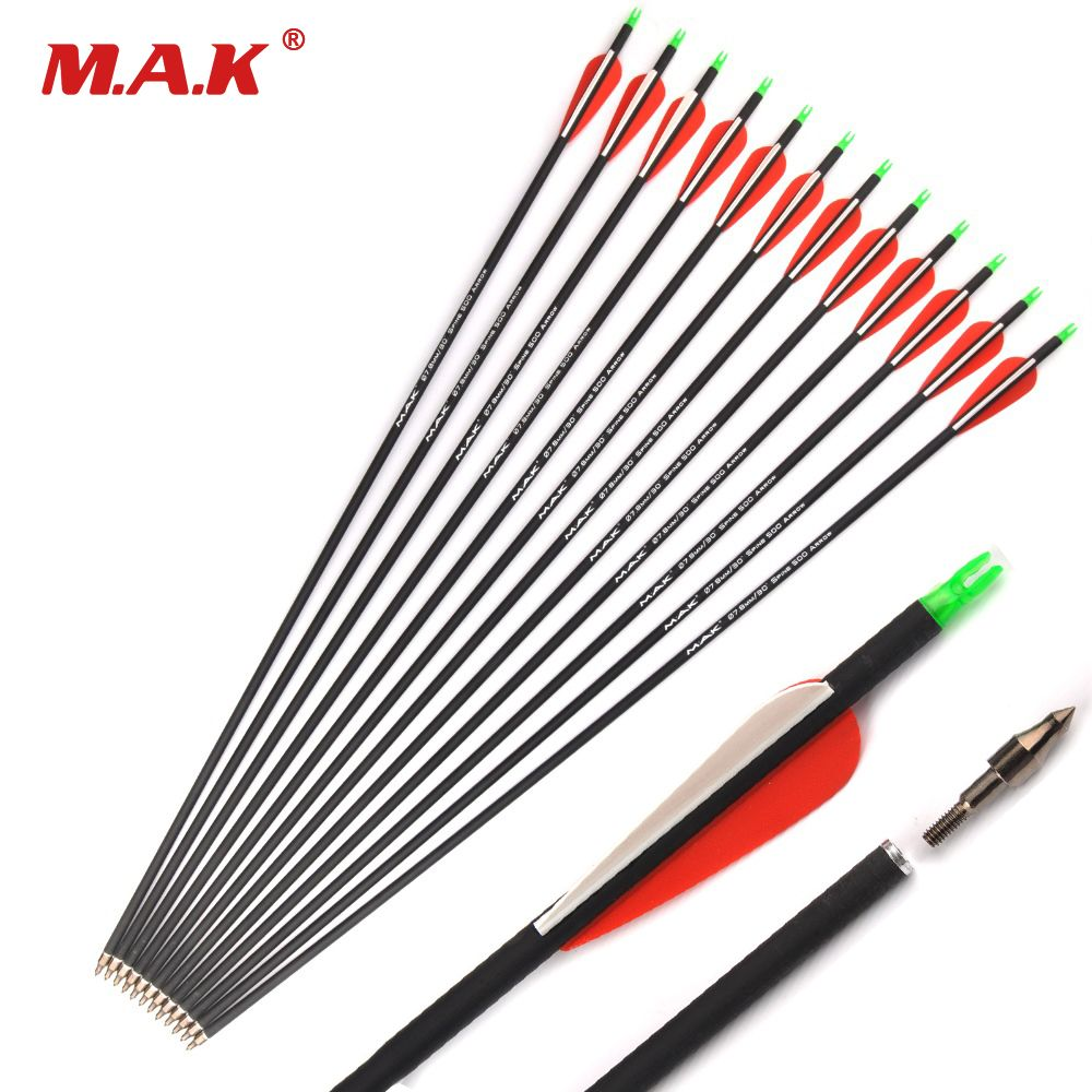12/24/36 Pcs Mixed Carbon Arrow 28/30 Inches Spine 500 Diameter 7.8 mm for Compound/Recurve Bow and Arrow Archery Shooting