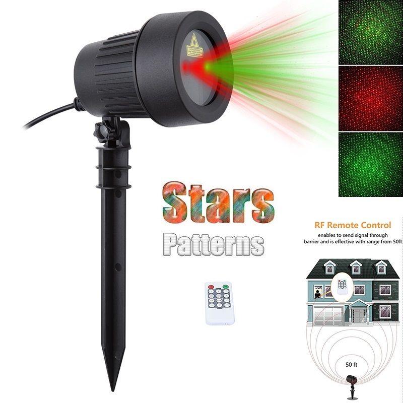 Douches de noël De Noël Laser Lumières Étoiles Projecteur Rouge Vert Étanche Statique Twinkle Avec À Distance En Plein Air Jardin pelouse