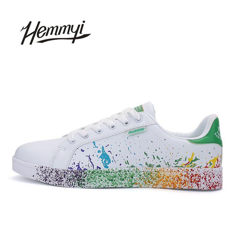 Hemmyi Для женщин обувь унисекс бренд tenis feminino Sapato повседневные кроссовки Basket Femme для леди струйный пары белые туфли