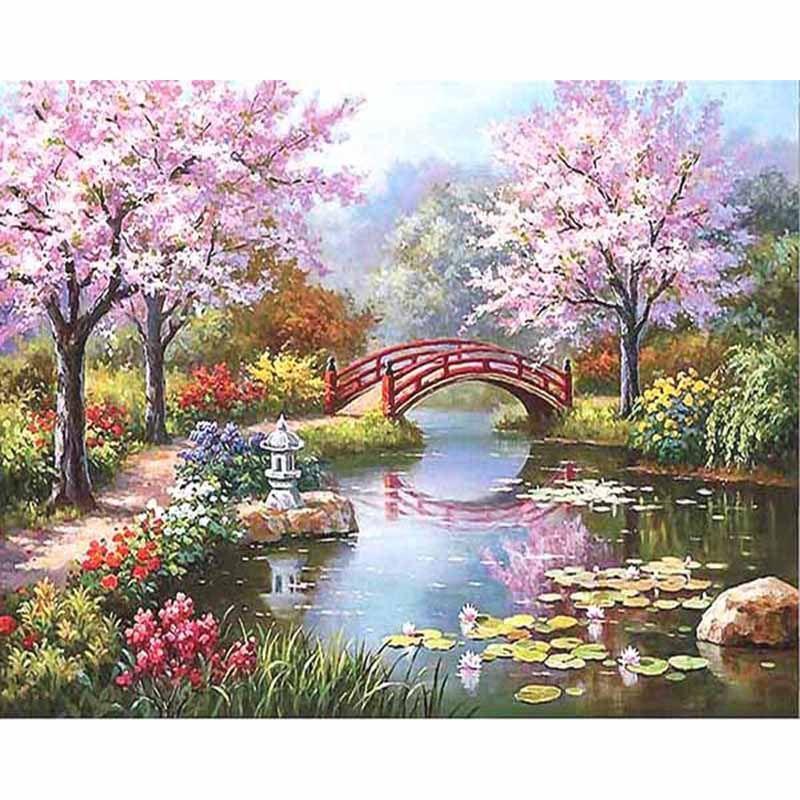 Sans cadre fleurs de cerisier paysage bricolage peinture numérique par numéros Unique cadeau acrylique image peint à la main peinture à l'huile 40x50