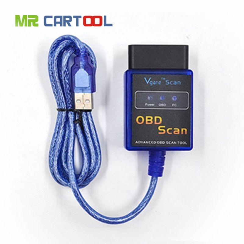 Pour Vgate Scan USB ELM327 OBD2 Scanner Auto OBD 2 Scan voiture ECU programmeur outils de Diagnostic Scanners Odb2 lecteur de Code outil