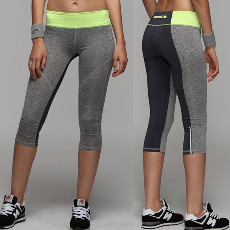Binand Women Reflective Stripe Night Running Capri Tights 3/4 Length Yoga Sports Capri Pants With Back Zippered Small Key Pocket