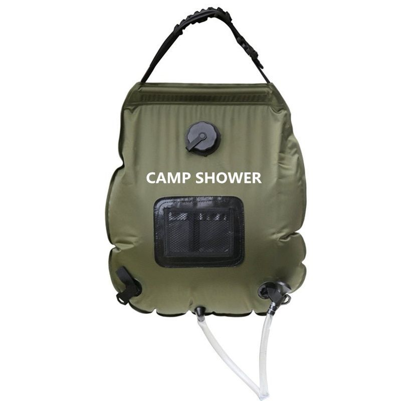 20L Army green Folding Water Shower Bag Outdoor Camping Hiking Self Driving Tour Solar Heating with Thermometer Travel kit