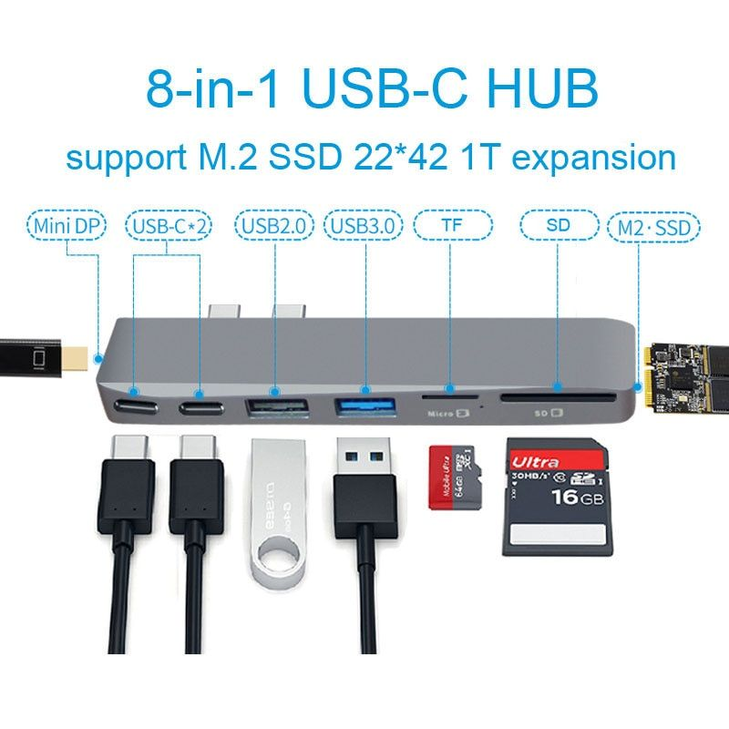 EASYA USB Type C Hub to Mini Display Adapter 5K 60hz support SSD expansion with PD/Data TF SD Reader USB 2.0/3.0 for MacBook Pro