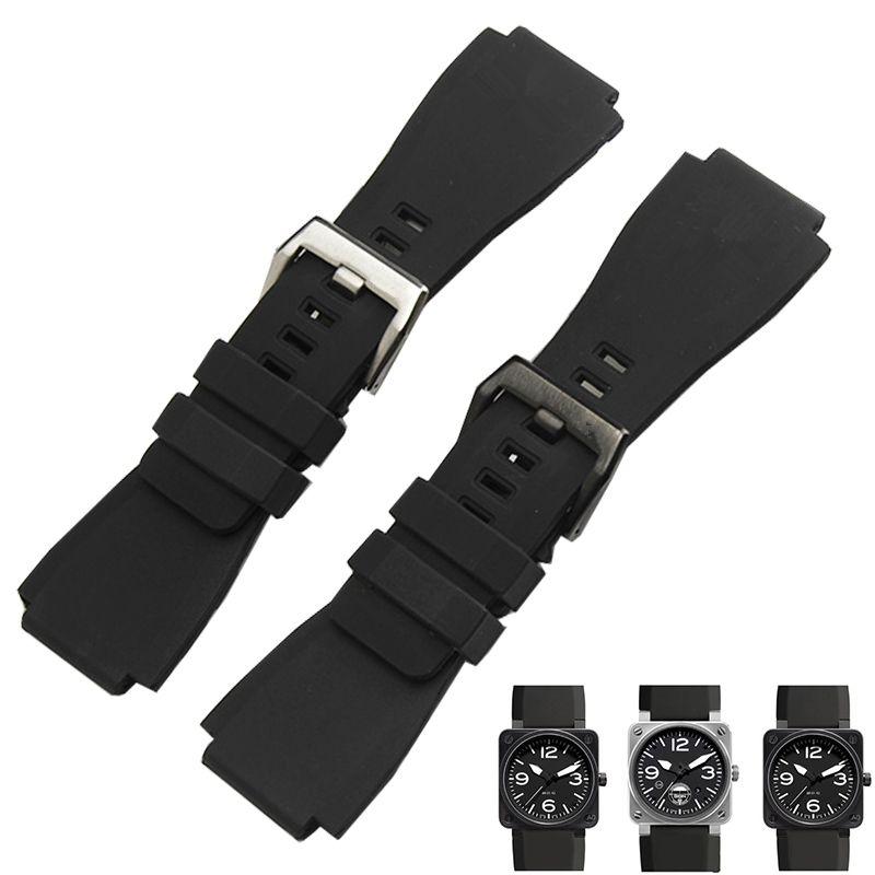TJP Noir 34*24mm Hommes Plongée Étanche Bracelet de Montre En Caoutchouc Silicone Bracelets Remplacer Bracelet Cloche Ross BR01 BR03 boucle