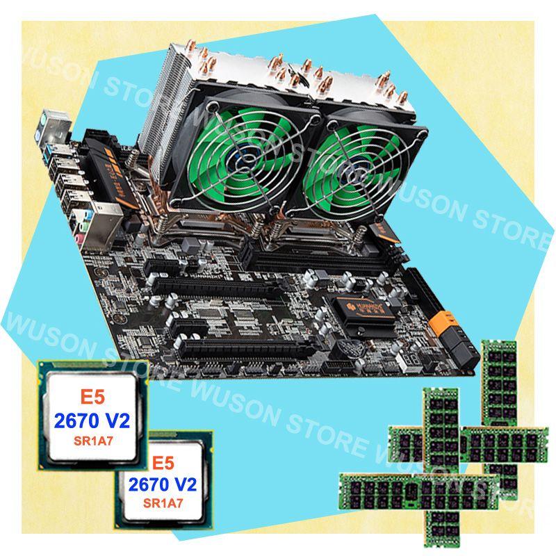 PC hardware supply HUANAN ZHI dual CPU X79 LGA2011 motherboard 64G RAM REG ECC Dual CPU Intel Xeon E5 2670 V2 SR1A7 with coolers