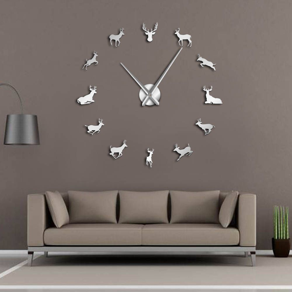 Deer Head DIY Giant Wall Clock Woodland Deer Hunter Modern Deer Antler Wall Clock Acrylic Mirror Effect Animals Home Decorations