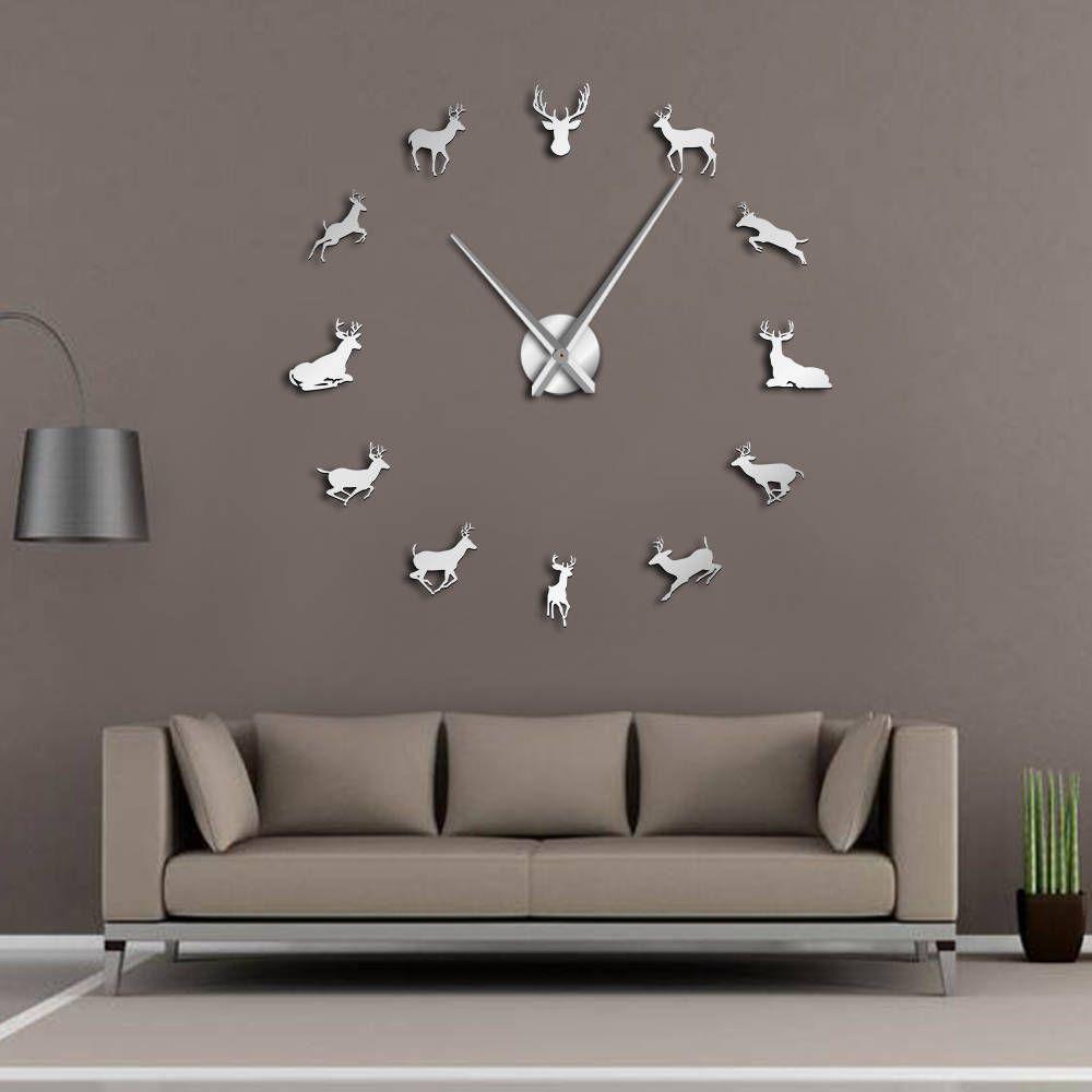 Tête de cerf bricolage horloge murale géante bois cerf chasseur moderne cerf Antler horloge murale acrylique effet miroir animaux décorations pour la maison