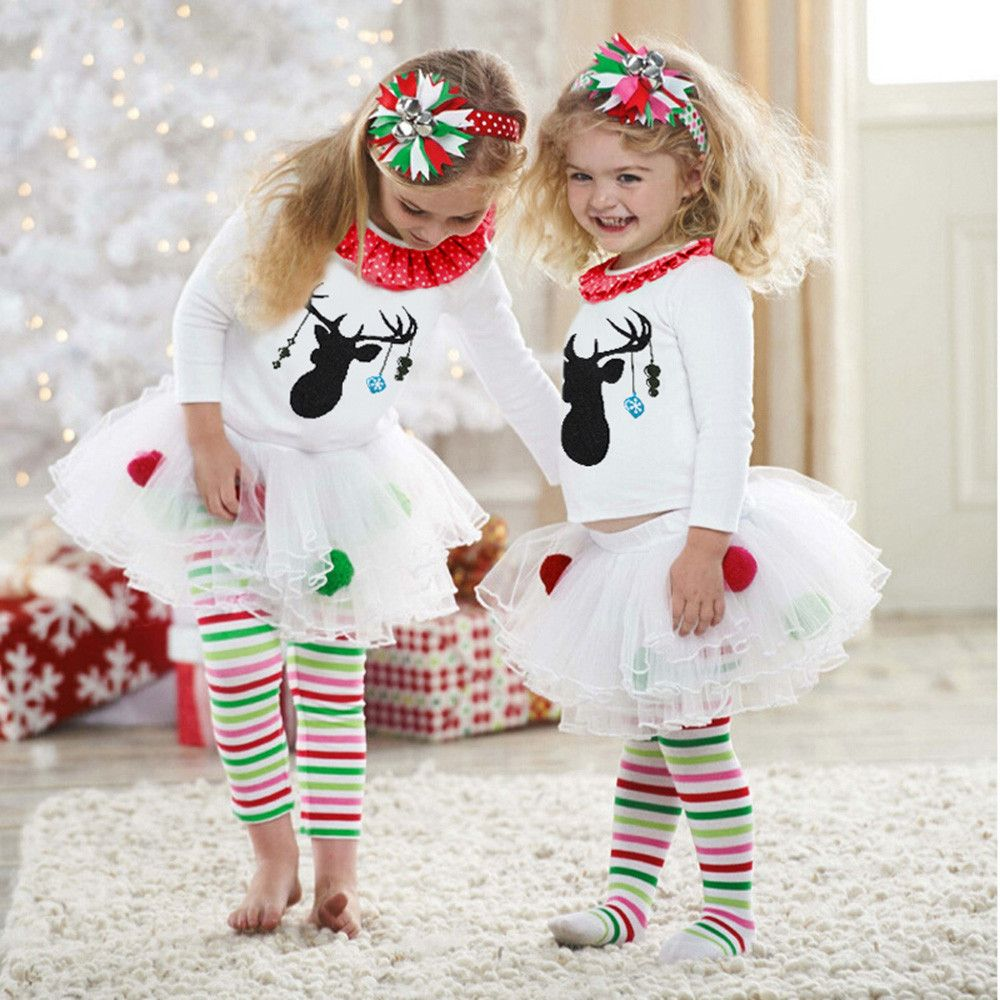 Kids Baby Girl Deer T shirt Tops+Striped Tulle Tutu Pants Christmas Outfits Set