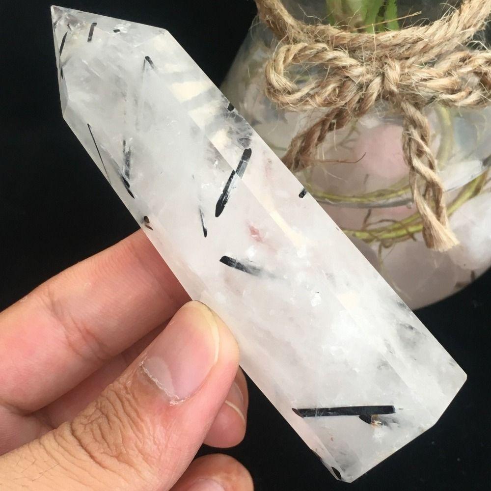 Natural Rare Black Tourmaline Crystal Column Magic Wand Point Reiki for Healing stones