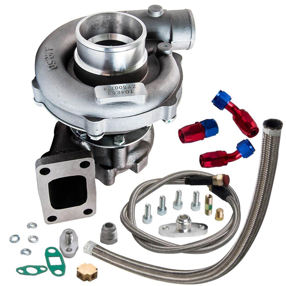 T3/T4 T04E .57 A/R Performance Turbocharger +Oil Feed & Return Line Kit 300+HP Oil Cooled Turbo for 1.6-2.5L internal wastegate