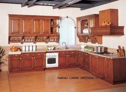 Твердая древесина наборы кухонных шкафов (lh-sw019)