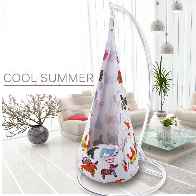 Cute Colorful Printed Cartoon Children Swing Chair Hammock Garden Furniture Indoor Outdoor Hanging Seat Child Kids Seat Patio
