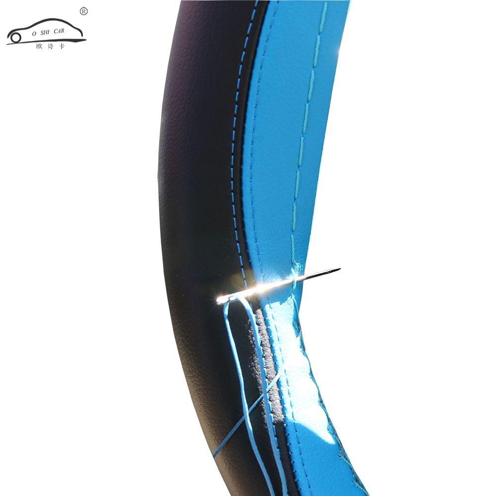 En cuir Tresse Sur Le Volant De Voiture Loisirs Couverture de Volant de sport Point Automatique Sur Wrap Couverture Avec aiguilles et Du Fil