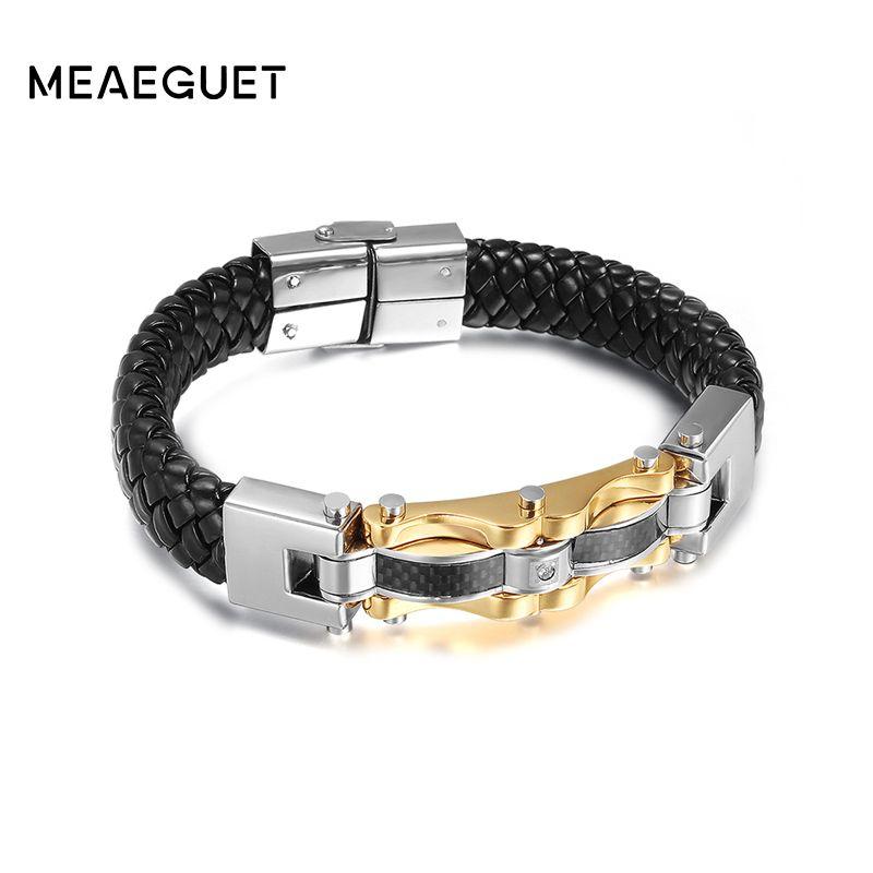 Meaeguet Punk Genuine Leather Men Bracelets & Bangles High Quality Stainless Steel Gold-Color Charm Bracelet For Male