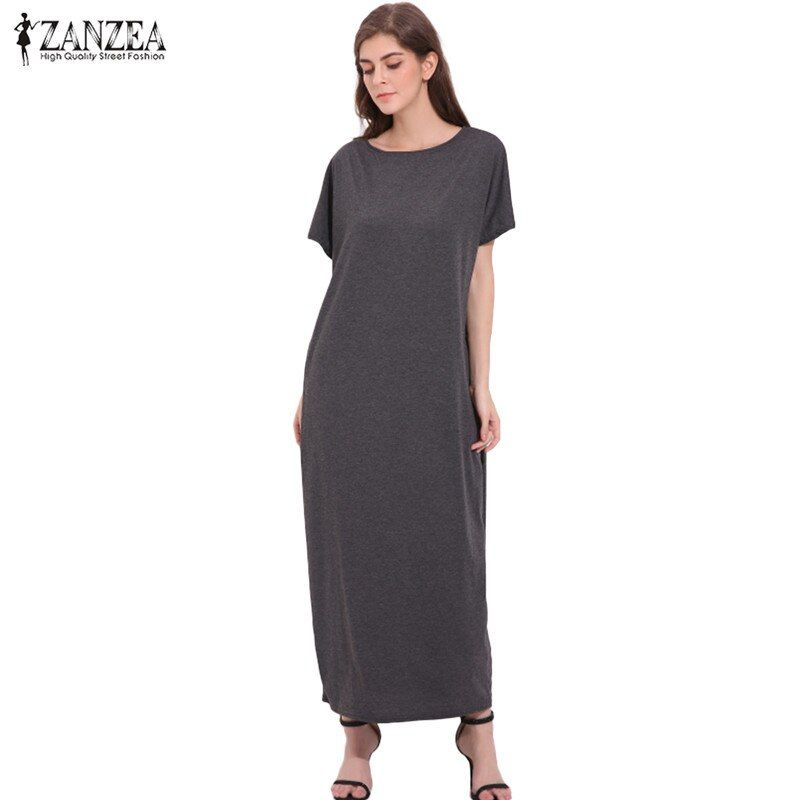 2018 ZANZEA Oversized Womens Summer O Neck Short Sleeve Solid Vintage Casual Sexy Ladies <font><b>Party</b></font> Tunic Baggy Maxi Long Dress