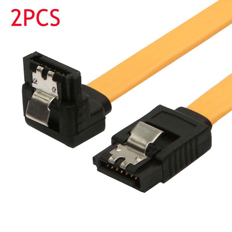 2 STÜCKE 90 Grad/Rechtwinklig SATA III Kabel 6,0 Gbps Mit Locking Latch 32 Zoll Gelb QJY99