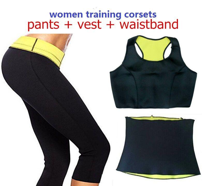 Aselnn (pantalon + gilet + ceinture) vente chaude Super Stretch néoprène Shapers pantalon ensemble femmes minceur ensembles Corsets