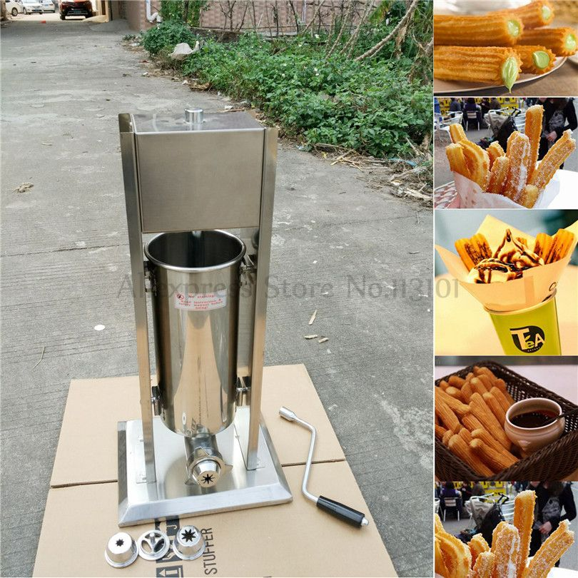 Churros Machine Manual Operation Stainless Steel Churro Maker Capacity 3 Liters Brand New