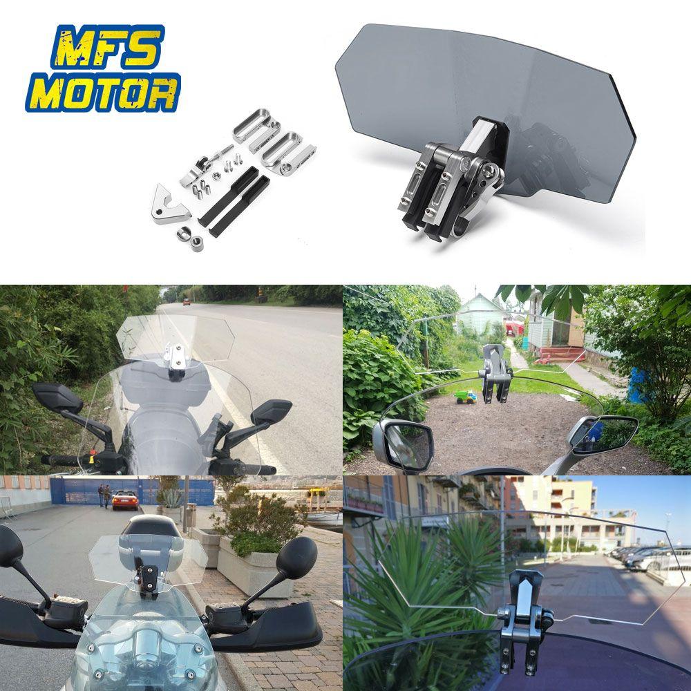 Universal Motorcycle Adjustable Extension Windshield Windscreen For Honda Yamaha Suzuki Kawasaki BMW Ducati Harley Wind Spoiler