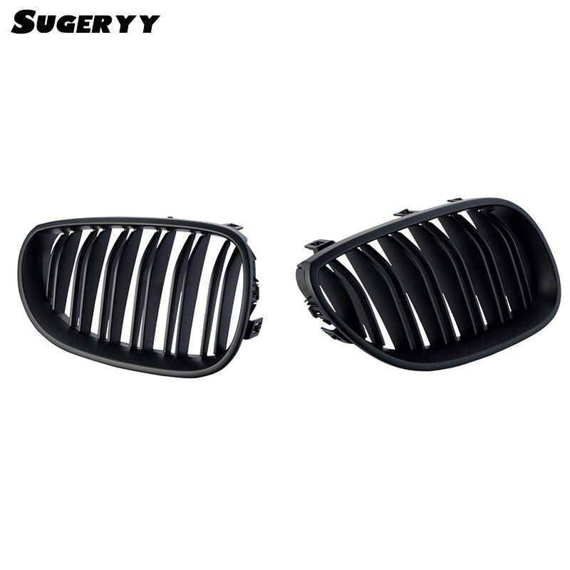 SUGERYY 1 Pair Car Style Gloss Black Dual Fin Front Kidney Grills Grille For BMW 5 Series E60 E61 4 Door 2003-2009 Accessories
