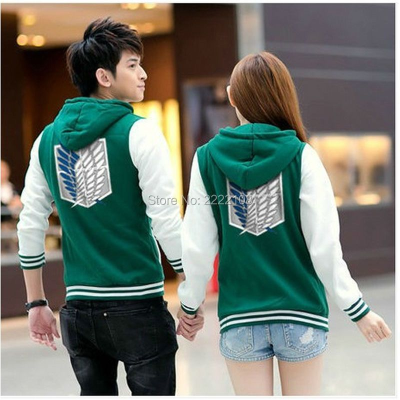 Cheap Cosplay Anime Costumes Shingeki No Kyojin Attack On Titan jacket Scratched Velvet casual hoodies Sweatshirt for couples
