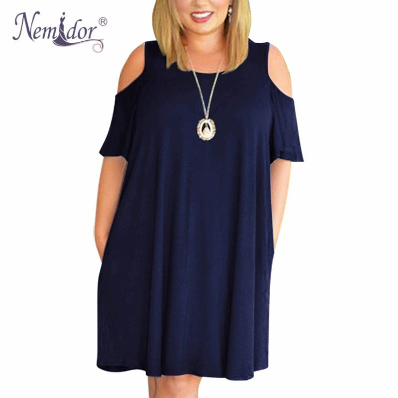 Nemidor Women Casual O-neck Off The Shoulder Midi Plus Size Summer Dress Short Sleeve Beach Vintage Solid Dress With Pockets
